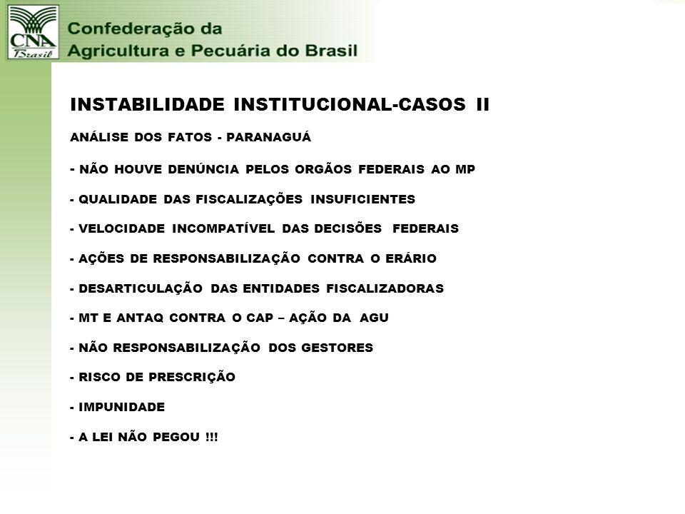 INSTABILIDADE INSTITUCIONAL-CASOS - I GESTÃO PORTUÁRIA - PARANAGUÁ - Denúncias desde 2003 -CAP –COMISSÃO PORTOS – ENTIDADES - Dezenas de irregularidad