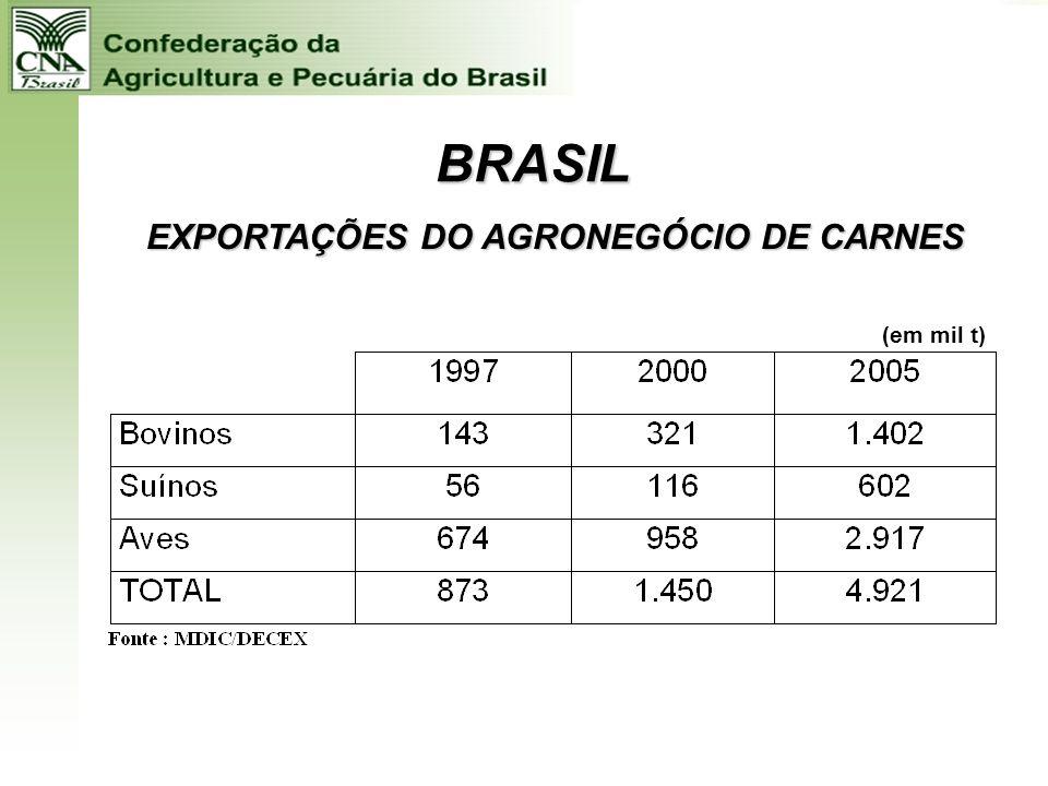 BRASIL EXPORTAÇÕES DO AGRONEGÓCIO SUCRO-ALCOOLEIRO (em mil t)