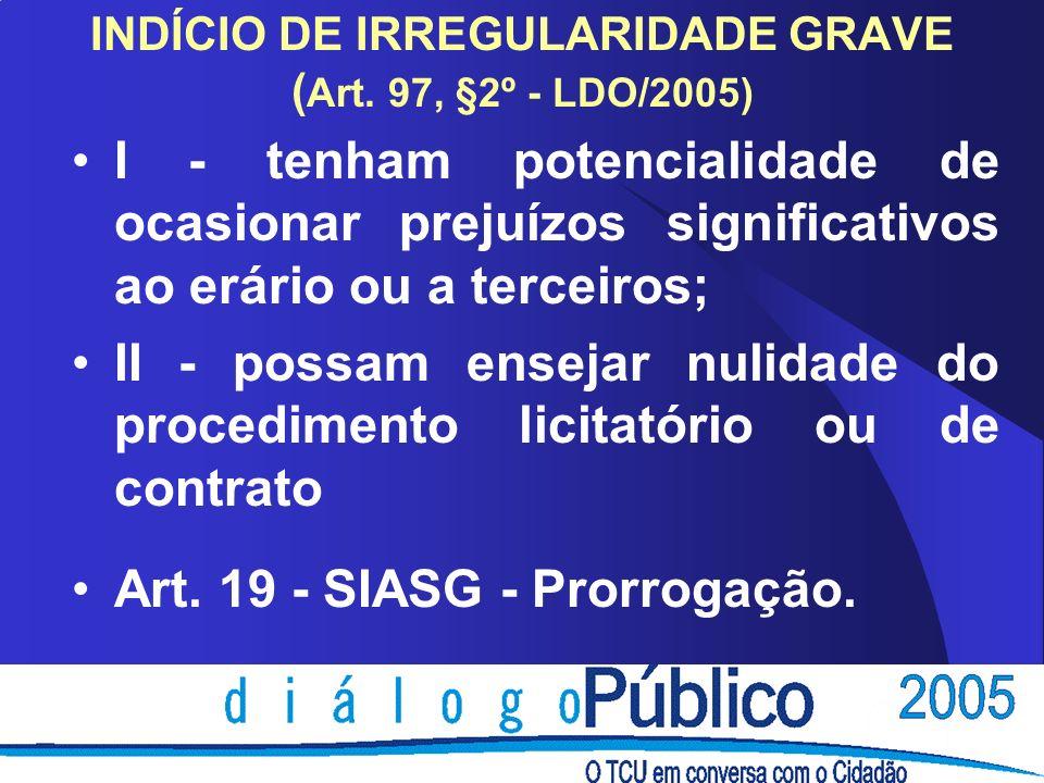 INDÍCIO DE IRREGULARIDADE GRAVE ( Art.