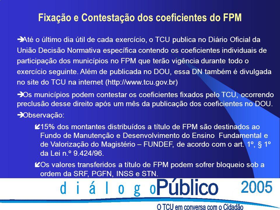 Fixação e Contestação dos coeficientes do FPM è Até o último dia útil de cada exercício, o TCU publica no Diário Oficial da União Decisão Normativa es