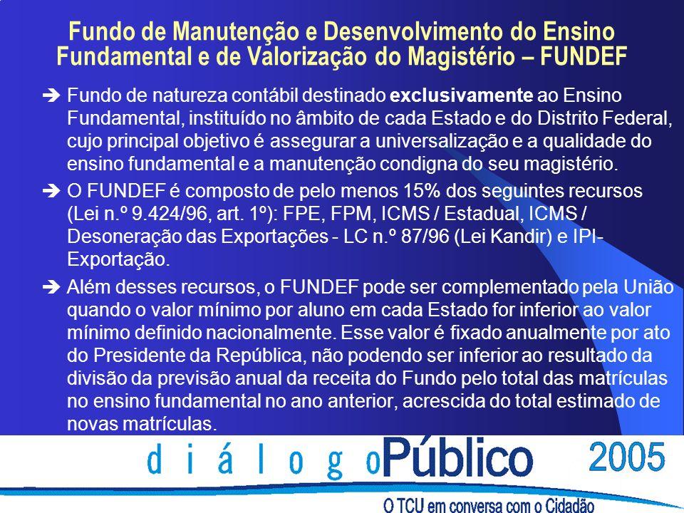 Fundo de Manutenção e Desenvolvimento do Ensino Fundamental e de Valorização do Magistério – FUNDEF èFundo de natureza contábil destinado exclusivamen