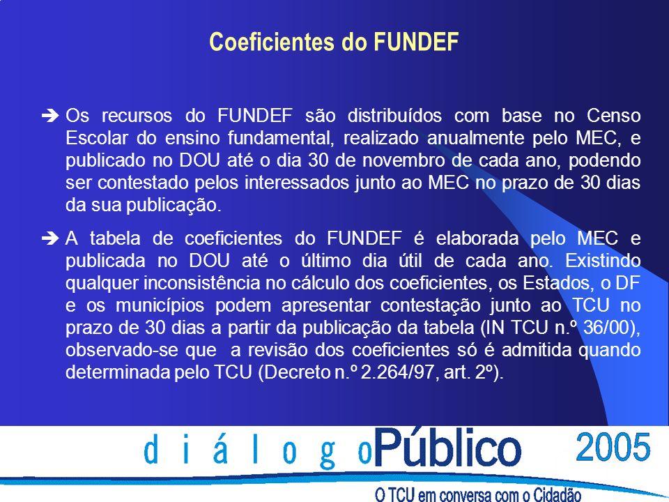 Coeficientes do FUNDEF èOs recursos do FUNDEF são distribuídos com base no Censo Escolar do ensino fundamental, realizado anualmente pelo MEC, e publicado no DOU até o dia 30 de novembro de cada ano, podendo ser contestado pelos interessados junto ao MEC no prazo de 30 dias da sua publicação.