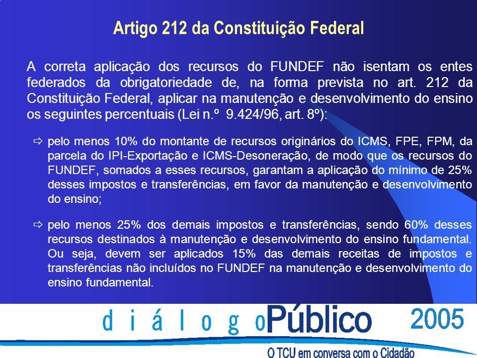 Artigo 212 da Constituição Federal A correta aplicação dos recursos do FUNDEF não isentam os entes federados da obrigatoriedade de, na forma prevista no art.