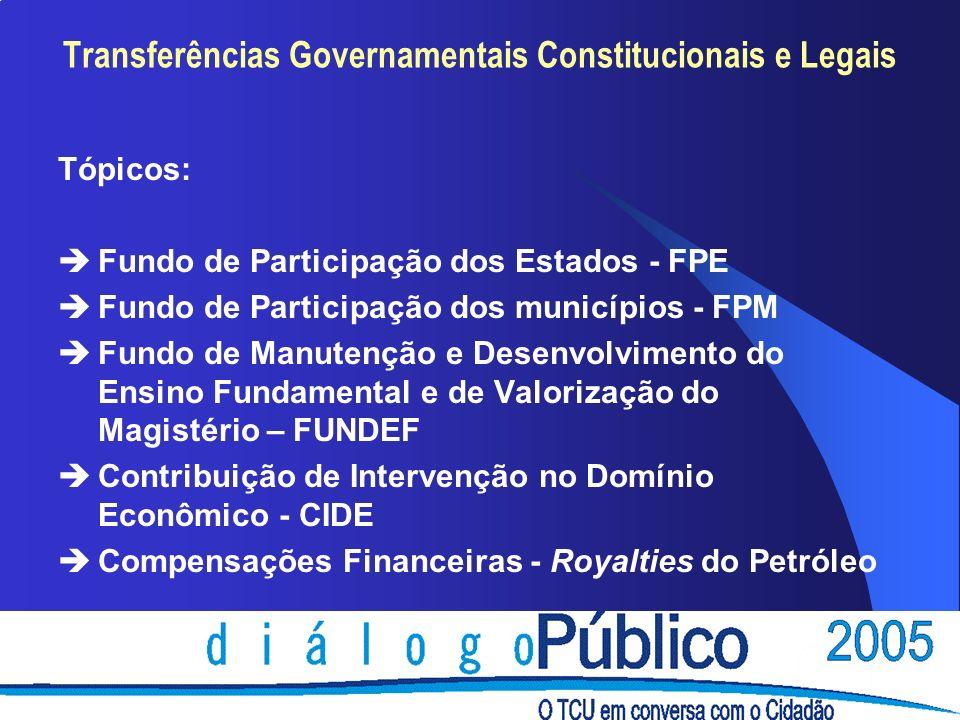 Tópicos: èFundo de Participação dos Estados - FPE èFundo de Participação dos municípios - FPM èFundo de Manutenção e Desenvolvimento do Ensino Fundame