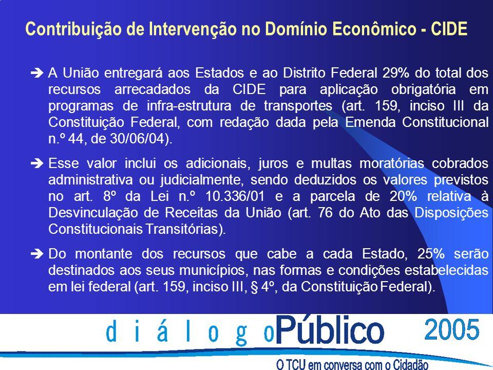Contribuição de Intervenção no Domínio Econômico - CIDE èA União entregará aos Estados e ao Distrito Federal 29% do total dos recursos arrecadados da