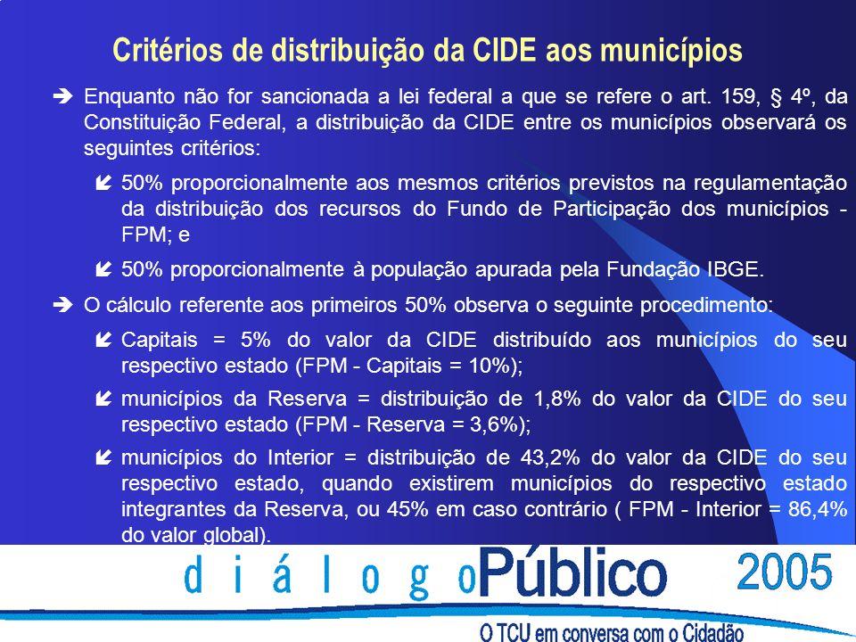 Critérios de distribuição da CIDE aos municípios èEnquanto não for sancionada a lei federal a que se refere o art. 159, § 4º, da Constituição Federal,