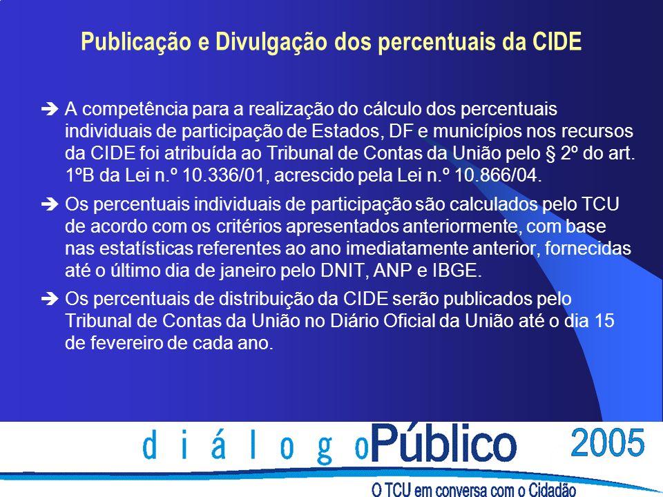 Publicação e Divulgação dos percentuais da CIDE èA competência para a realização do cálculo dos percentuais individuais de participação de Estados, DF e municípios nos recursos da CIDE foi atribuída ao Tribunal de Contas da União pelo § 2º do art.