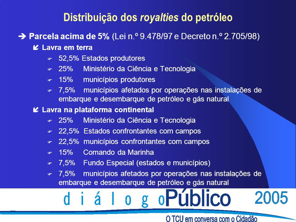 Parcela acima de 5% (Lei n.º 9.478/97 e Decreto n.º 2.705/98) Lavra em terra F 52,5% Estados produtores F 25% Ministério da Ciência e Tecnologia F 15% municípios produtores 7,5% municípios afetados por operações nas instalações de embarque e desembarque de petróleo e gás natural íLavra na plataforma continental F 25% Ministério da Ciência e Tecnologia F 22,5% Estados confrontantes com campos F 22,5% municípios confrontantes com campos F 15% Comando da Marinha F 7,5% Fundo Especial (estados e municípios) F 7,5% municípios afetados por operações nas instalações de embarque e desembarque de petróleo e gás natural Distribuição dos royalties do petróleo