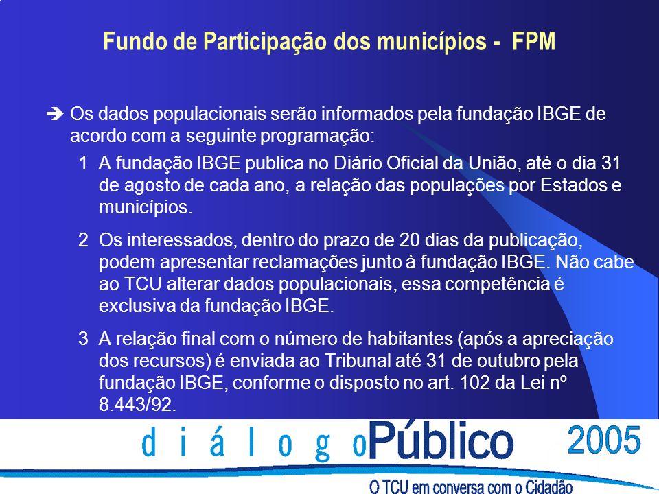 Fundo de Participação dos municípios - FPM èOs dados populacionais serão informados pela fundação IBGE de acordo com a seguinte programação: 1A fundaç