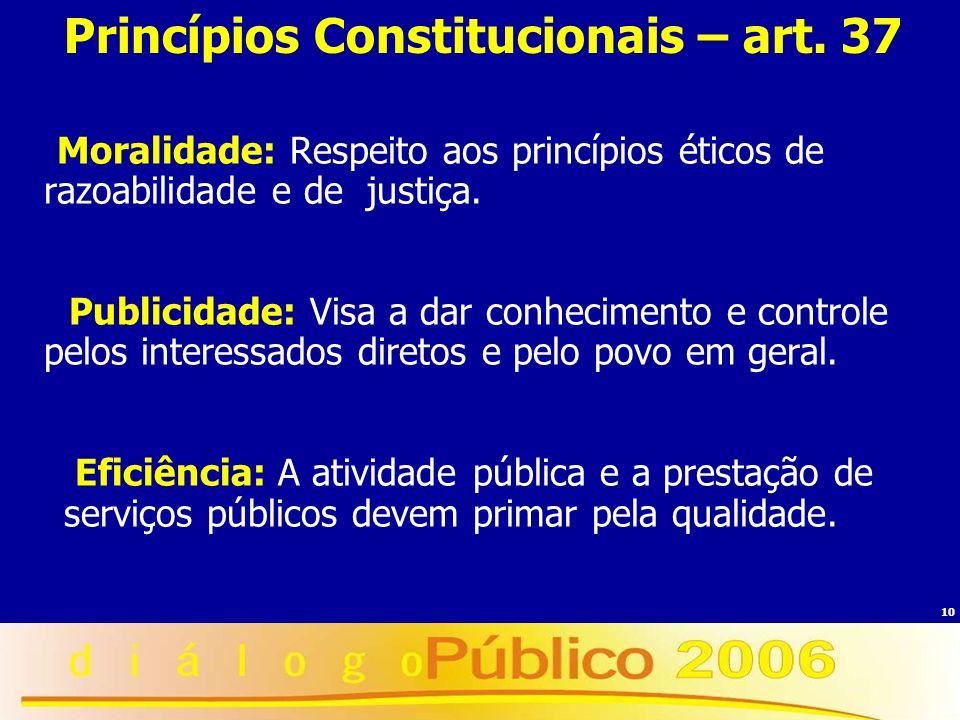 10 Princípios Constitucionais – art. 37 Moralidade: Respeito aos princípios éticos de razoabilidade e de justiça. Publicidade: Visa a dar conhecimento