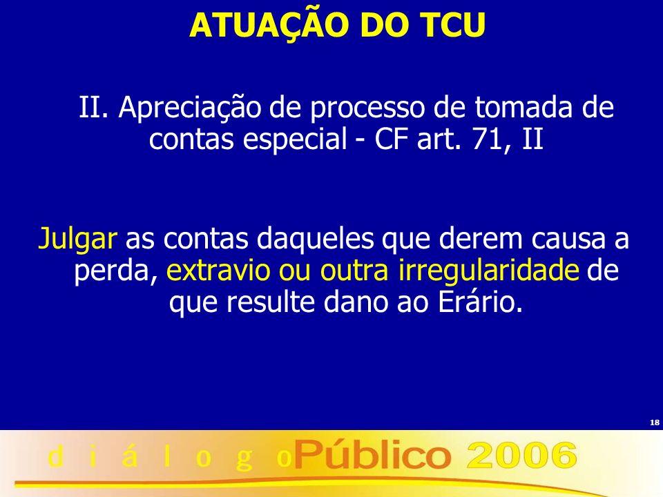 18 ATUAÇÃO DO TCU II. Apreciação de processo de tomada de contas especial - CF art. 71, II Julgar as contas daqueles que derem causa a perda, extravio