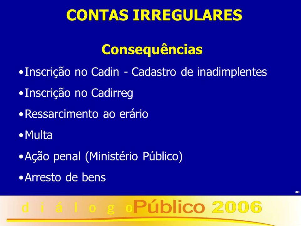 20 Consequências Inscrição no Cadin - Cadastro de inadimplentes Inscrição no Cadirreg Ressarcimento ao erário Multa Ação penal (Ministério Público) Ar