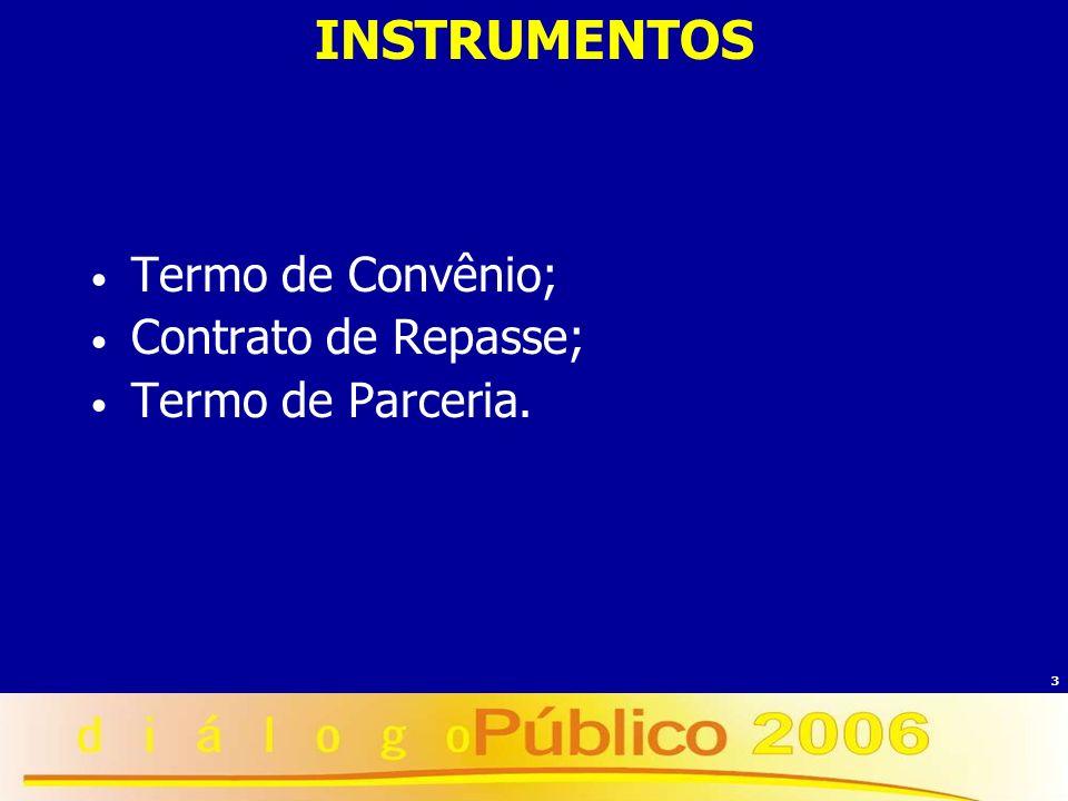 3 INSTRUMENTOS Termo de Convênio; Contrato de Repasse; Termo de Parceria.