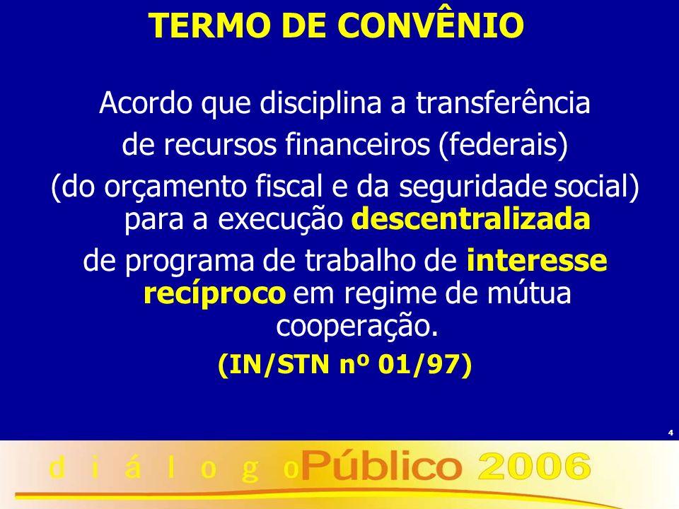 4 TERMO DE CONVÊNIO Acordo que disciplina a transferência de recursos financeiros (federais) (do orçamento fiscal e da seguridade social) para a execu