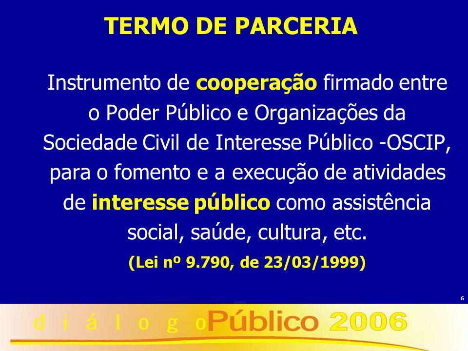 6 TERMO DE PARCERIA Instrumento de cooperação firmado entre o Poder Público e Organizações da Sociedade Civil de Interesse Público -OSCIP, para o fome
