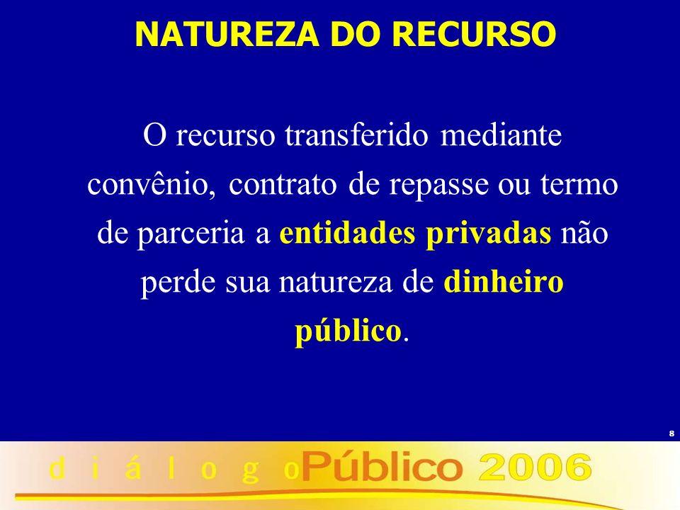 8 NATUREZA DO RECURSO O recurso transferido mediante convênio, contrato de repasse ou termo de parceria a entidades privadas não perde sua natureza de
