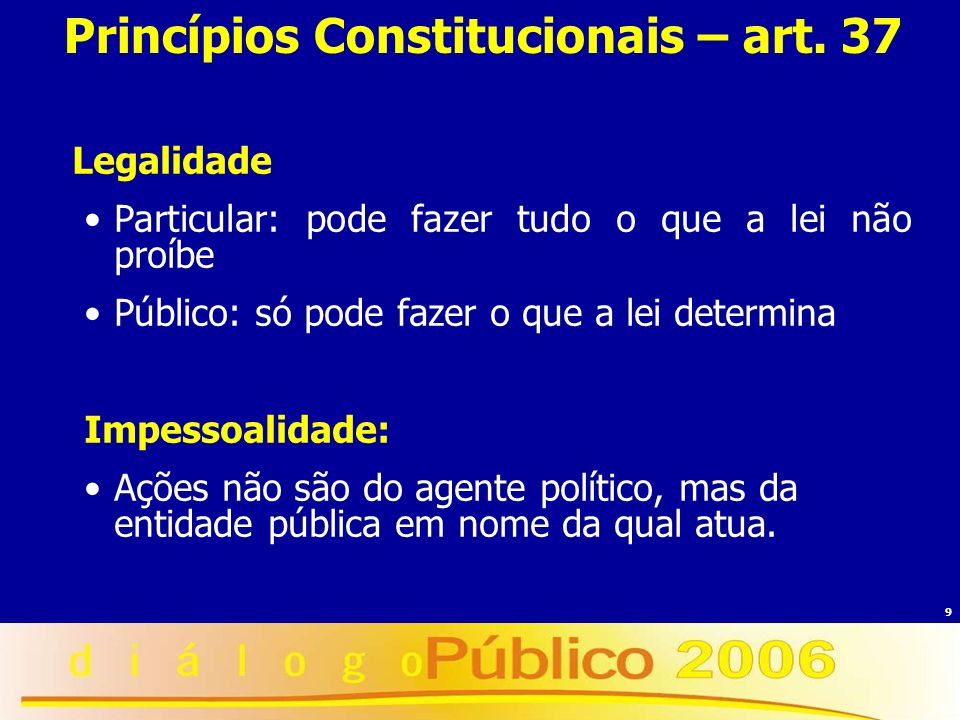 9 Princípios Constitucionais – art. 37 Legalidade Particular: pode fazer tudo o que a lei não proíbe Público: só pode fazer o que a lei determina Impe