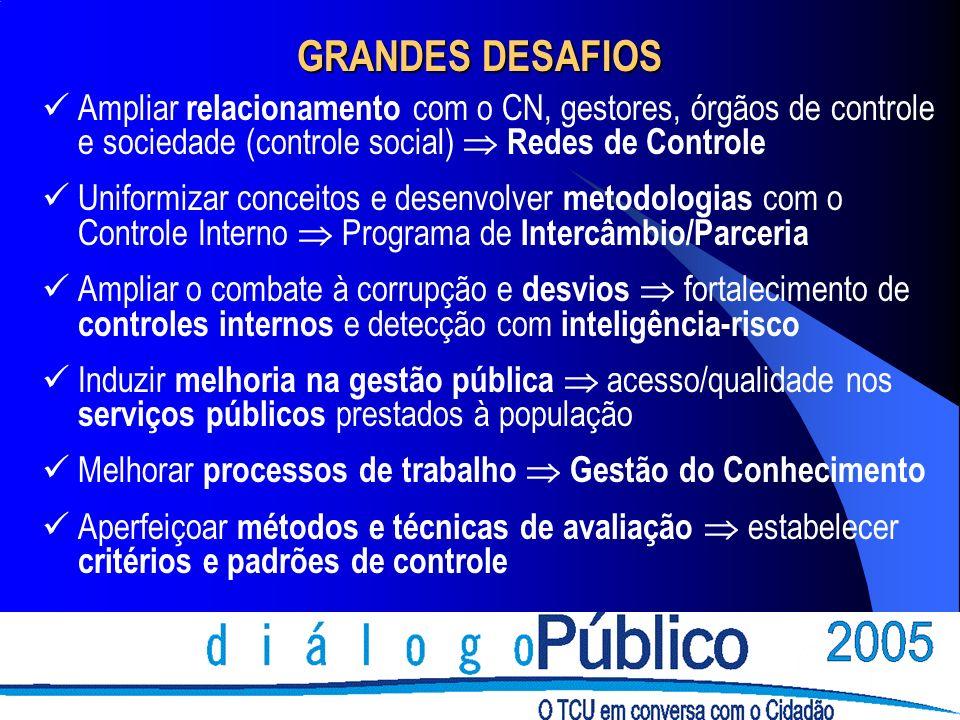 GRANDES DESAFIOS Ampliar relacionamento com o CN, gestores, órgãos de controle e sociedade (controle social) Redes de Controle Uniformizar conceitos e