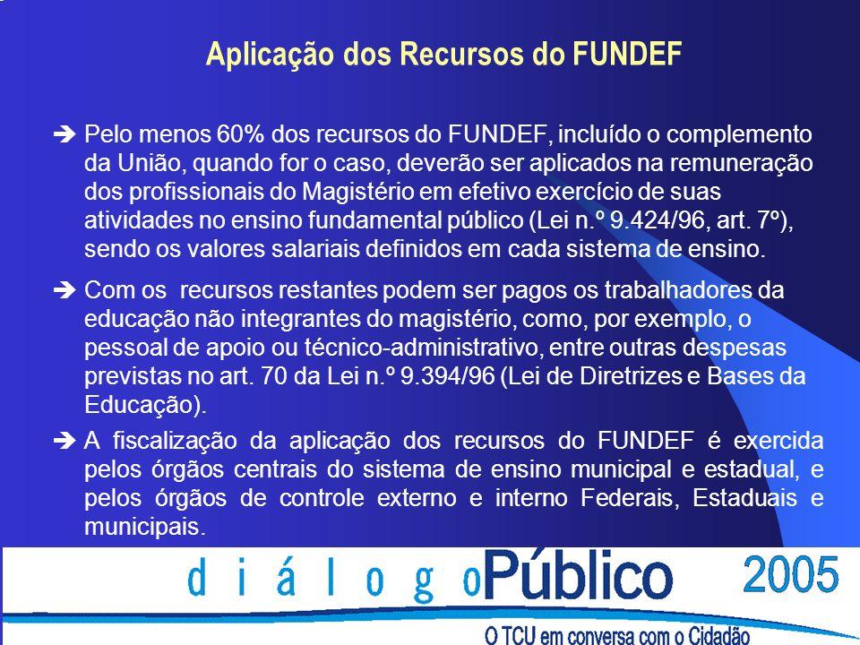 Aplicação dos Recursos do FUNDEF èPelo menos 60% dos recursos do FUNDEF, incluído o complemento da União, quando for o caso, deverão ser aplicados na remuneração dos profissionais do Magistério em efetivo exercício de suas atividades no ensino fundamental público (Lei n.º 9.424/96, art.