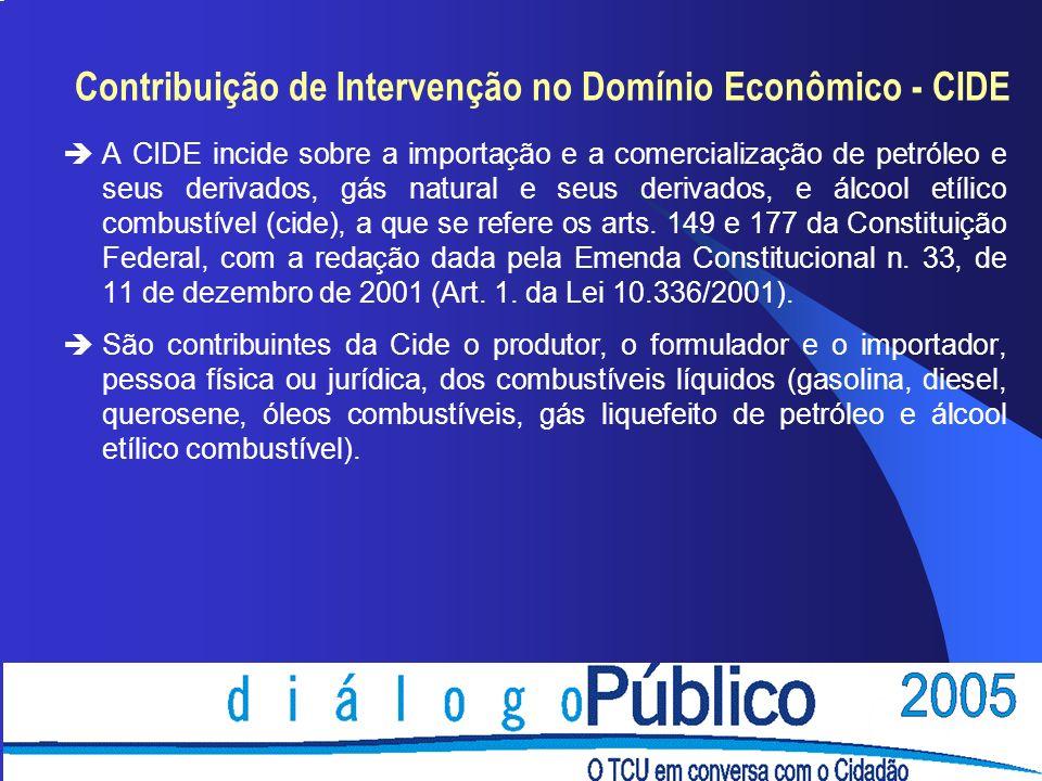 Contribuição de Intervenção no Domínio Econômico - CIDE èA CIDE incide sobre a importação e a comercialização de petróleo e seus derivados, gás natural e seus derivados, e álcool etílico combustível (cide), a que se refere os arts.