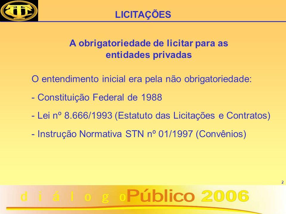 2 O entendimento inicial era pela não obrigatoriedade: - Constituição Federal de 1988 - Lei nº 8.666/1993 (Estatuto das Licitações e Contratos) - Inst