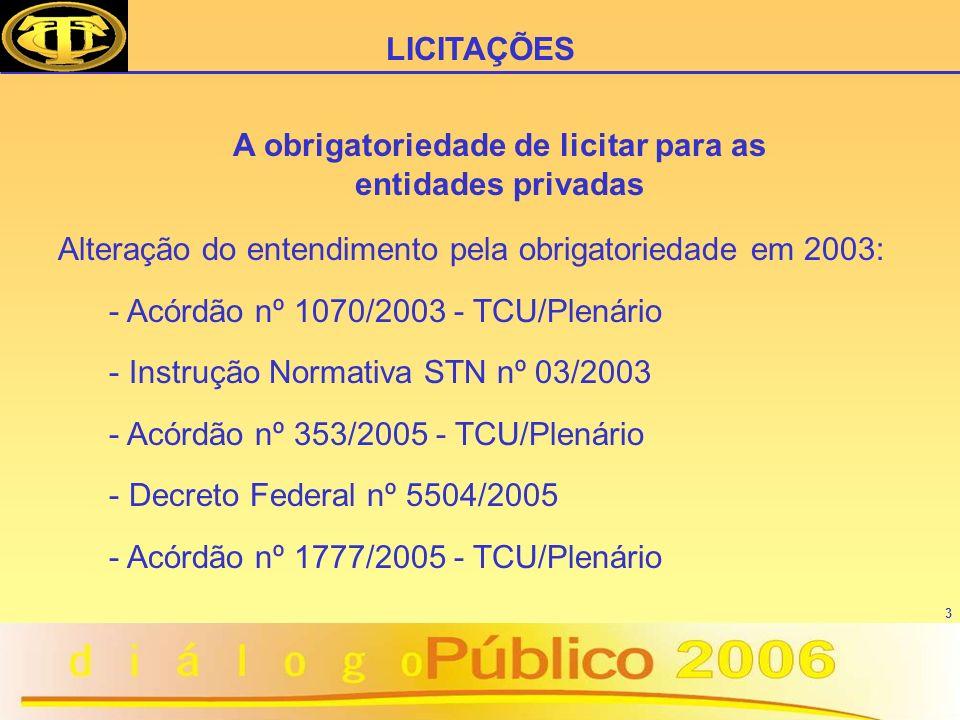 3 Alteração do entendimento pela obrigatoriedade em 2003: - Acórdão nº 1070/2003 - TCU/Plenário - Instrução Normativa STN nº 03/2003 - Acórdão nº 353/