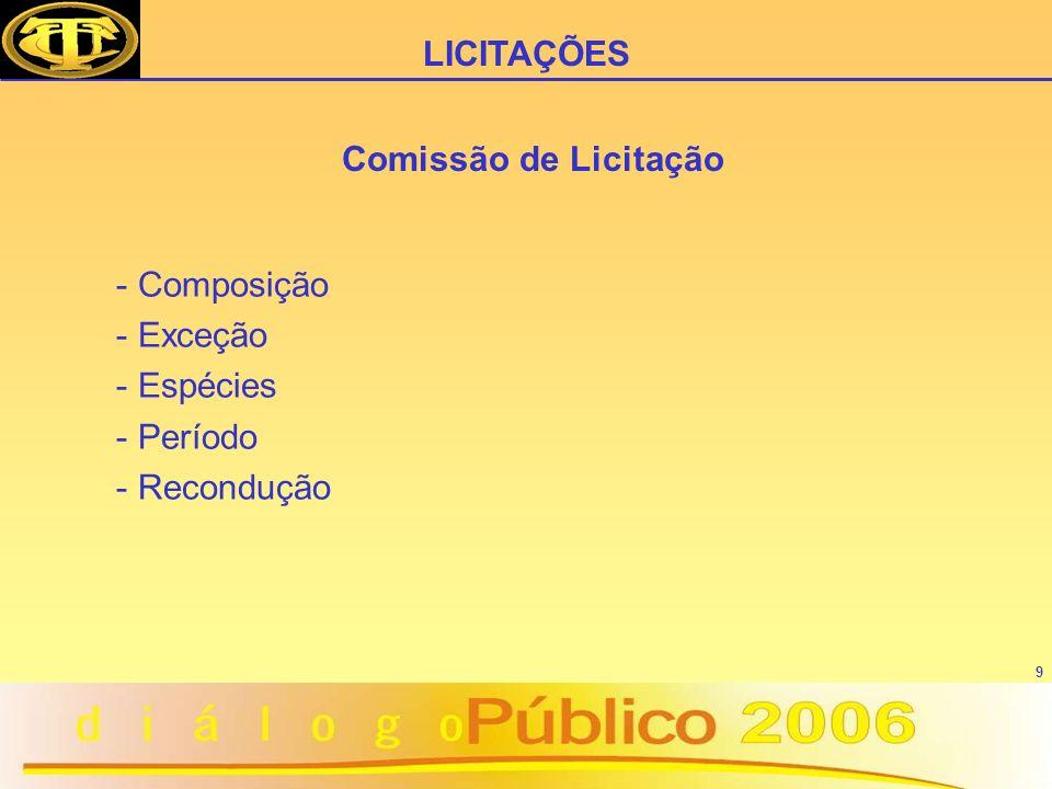 9 Comissão de Licitação - Composição - Exceção - Espécies - Período - Recondução LICITAÇÕES