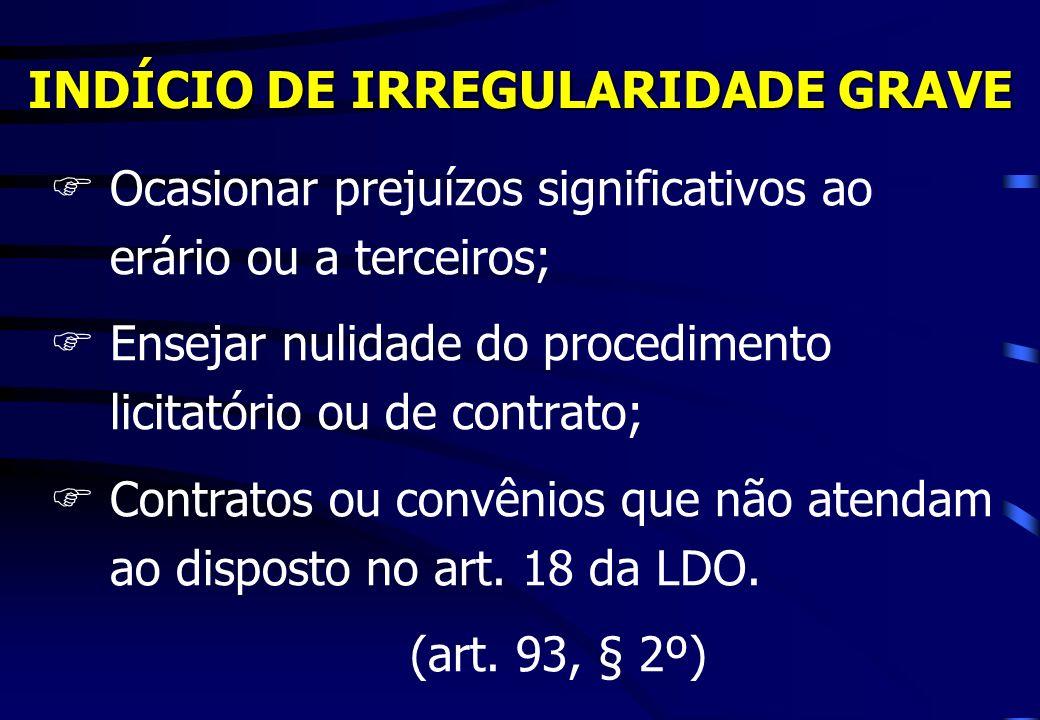 INDÍCIO DE IRREGULARIDADE GRAVE FOcasionar prejuízos significativos ao erário ou a terceiros; FEnsejar nulidade do procedimento licitatório ou de cont