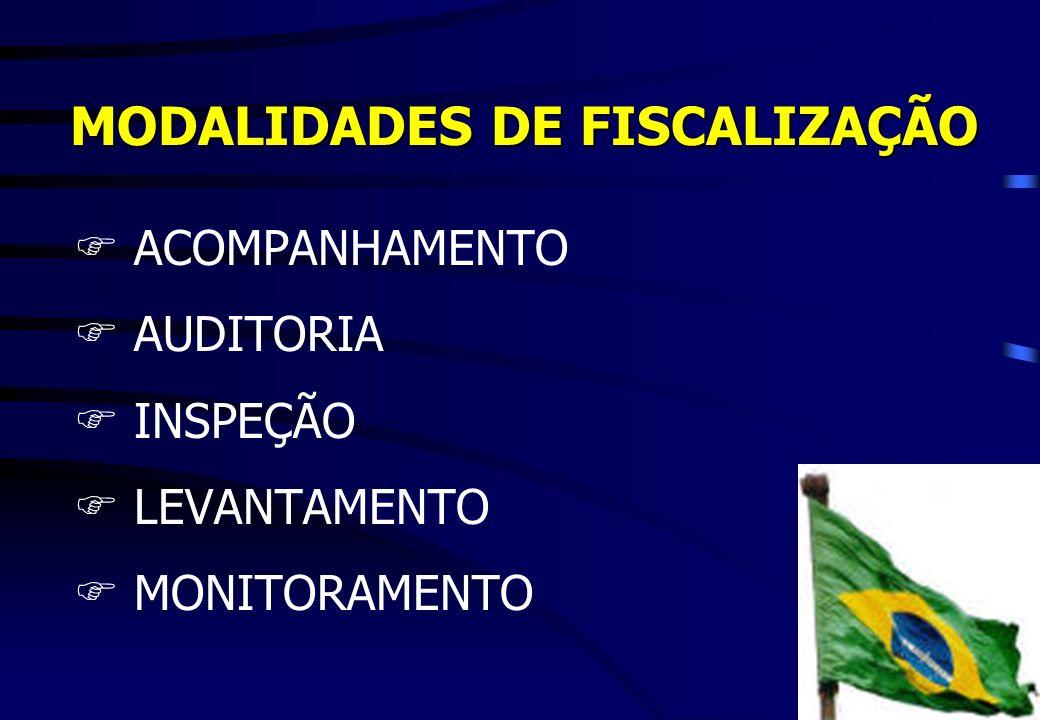 MODALIDADES DE FISCALIZAÇÃO FACOMPANHAMENTO FAUDITORIA FINSPEÇÃO FLEVANTAMENTO MONITORAMENTO