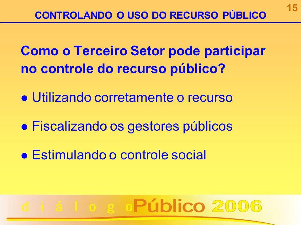 Como o Terceiro Setor pode participar no controle do recurso público? Utilizando corretamente o recurso Fiscalizando os gestores públicos Estimulando