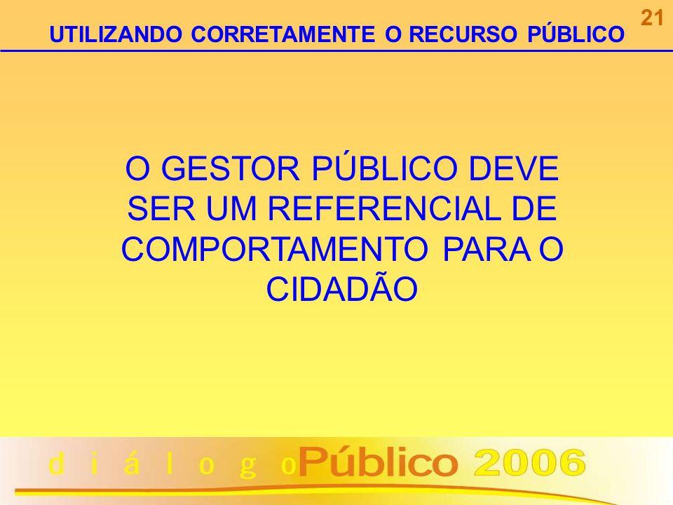 O GESTOR PÚBLICO DEVE SER UM REFERENCIAL DE COMPORTAMENTO PARA O CIDADÃO 21 UTILIZANDO CORRETAMENTE O RECURSO PÚBLICO
