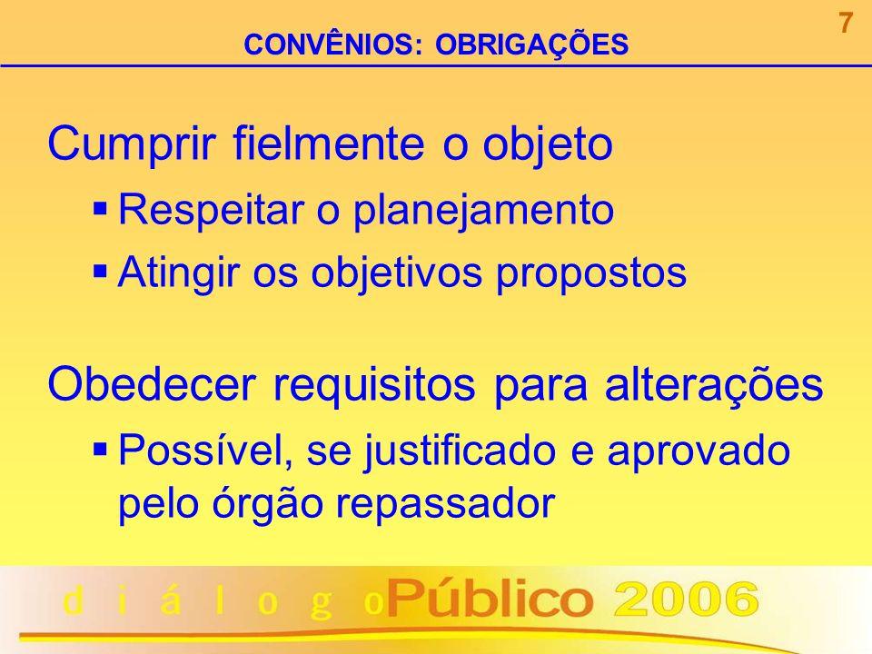 Obedecer regras de movimentação financeira Conta bancária específica Pagamentos identificados Comprovantes compatíveis com o objeto Aplicação financeira Restituição de saldos 8 CONVÊNIOS: OBRIGAÇÕES