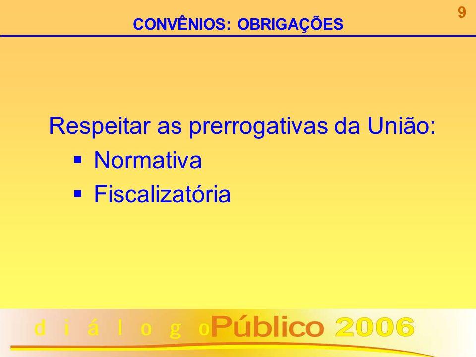 Respeitar as prerrogativas da União: Normativa Fiscalizatória 9 CONVÊNIOS: OBRIGAÇÕES