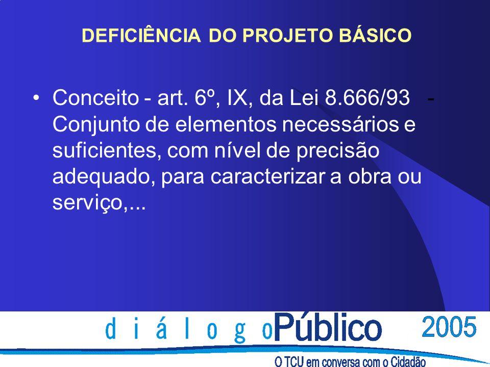 DEFICIÊNCIA DO PROJETO BÁSICO Conceito - art.
