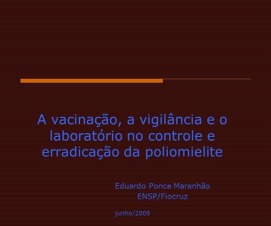 A vacinação, a vigilância e o laboratório no controle e erradicação da poliomielite Eduardo Ponce Maranhão ENSP/Fiocruz junho/2005