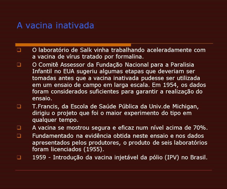 A vacina inativada O laboratório de Salk vinha trabalhando aceleradamente com a vacina de vírus tratado por formalina.