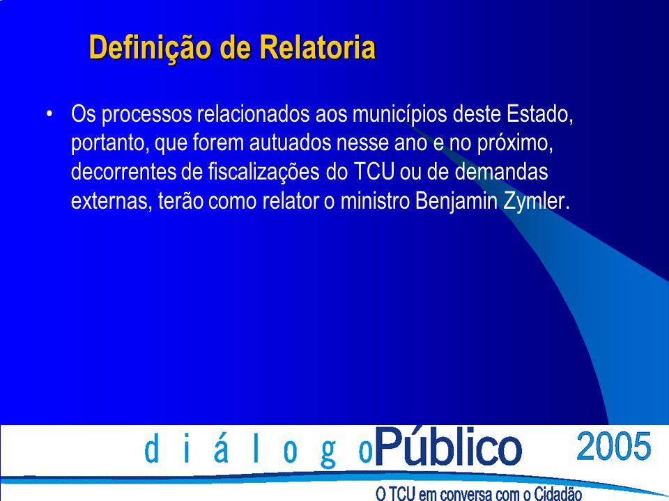 Definição de Relatoria Constituem exceção à regra de definição de relatoria os processos que tratem de recursos.