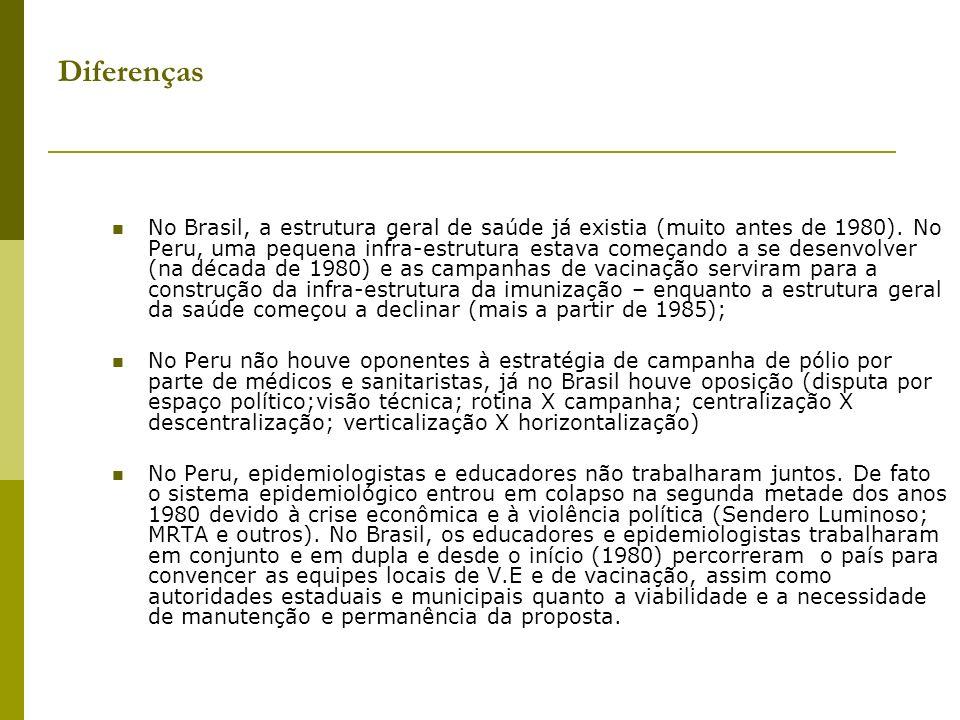 Diferenças No Brasil, a estrutura geral de saúde já existia (muito antes de 1980). No Peru, uma pequena infra-estrutura estava começando a se desenvol