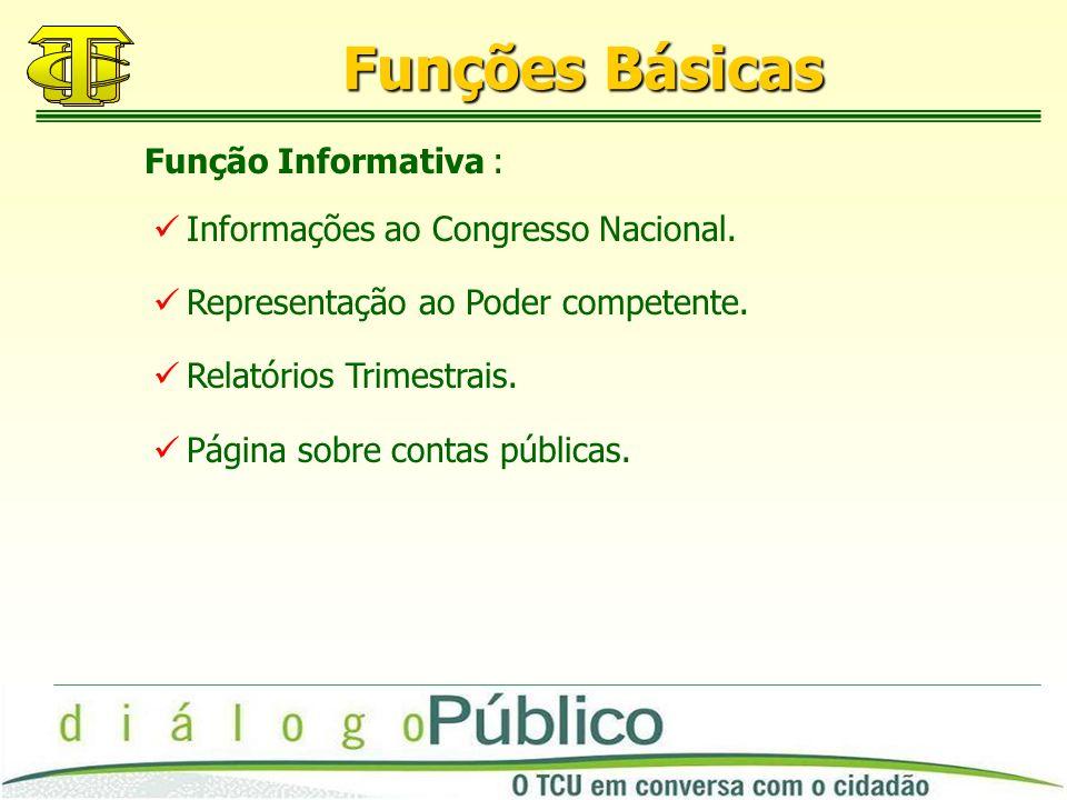 Funções Básicas Informações ao Congresso Nacional.