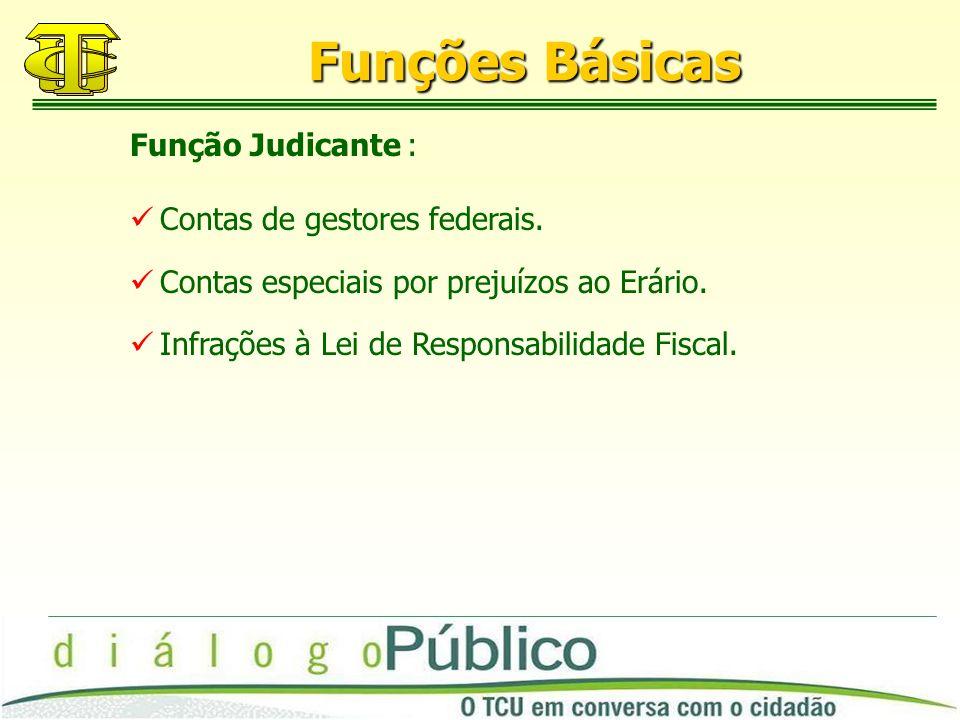Funções Básicas Contas de gestores federais. Contas especiais por prejuízos ao Erário.