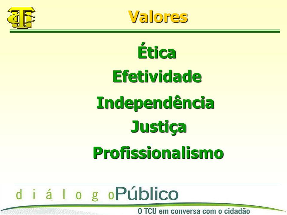 Valores Ética Efetividade Independência Justiça Profissionalismo