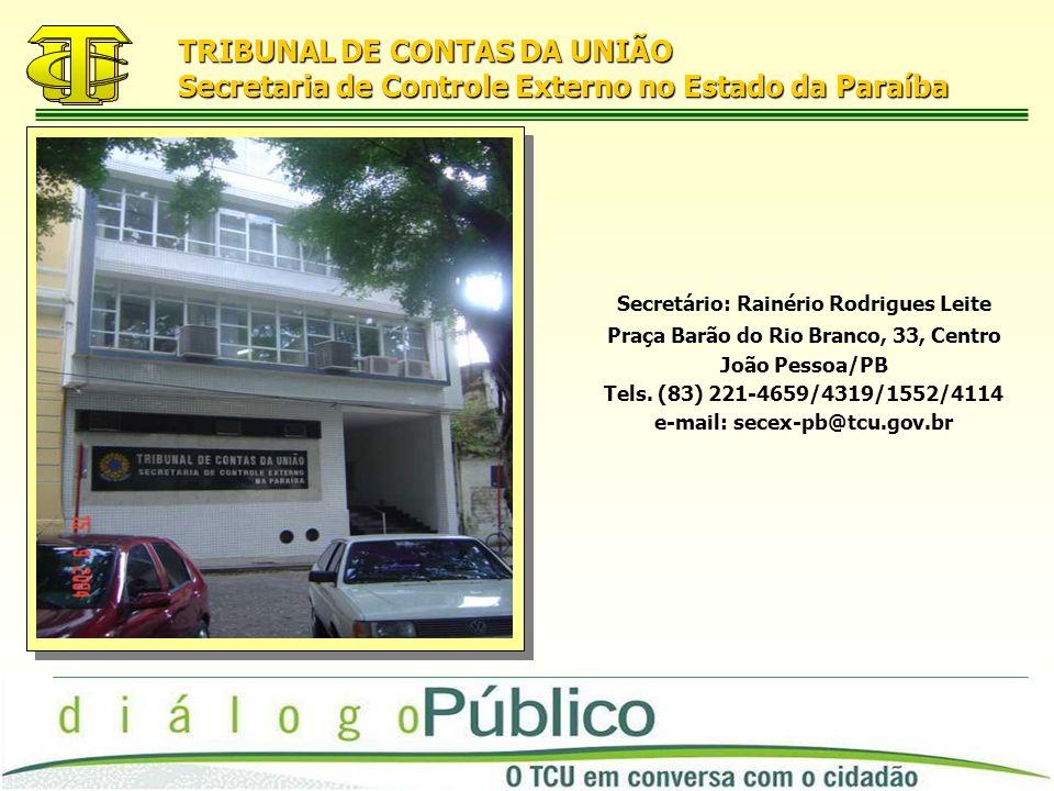 TRIBUNAL DE CONTAS DA UNIÃO Secretaria de Controle Externo no Estado da Paraíba Secretário: Rainério Rodrigues Leite Praça Barão do Rio Branco, 33, Centro João Pessoa/PB Tels.