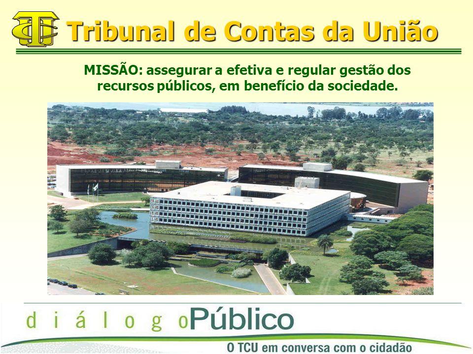Tribunal de Contas da União MISSÃO: assegurar a efetiva e regular gestão dos recursos públicos, em benefício da sociedade.