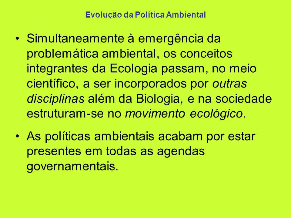Evolução da Política Ambiental Simultaneamente à emergência da problemática ambiental, os conceitos integrantes da Ecologia passam, no meio científico