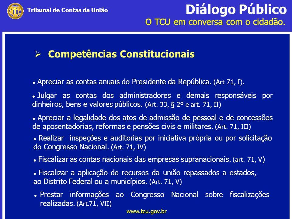 Diálogo Público O TCU em conversa com o cidadão. www.tcu.gov.br Tribunal de Contas da União Competências Constitucionais Prestar informações ao Congre
