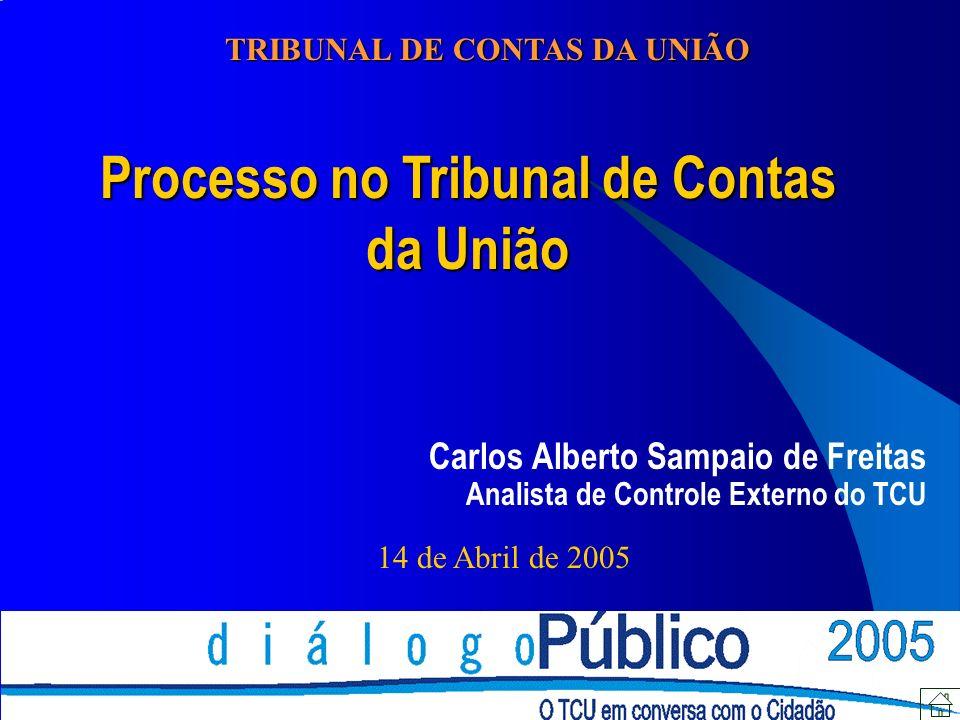 Processo no Tribunal de Contas da União Carlos Alberto Sampaio de Freitas Analista de Controle Externo do TCU 14 de Abril de 2005 TRIBUNAL DE CONTAS D