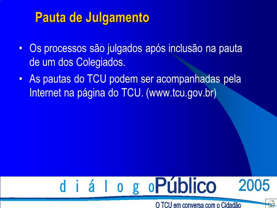 Pauta de Julgamento Os processos são julgados após inclusão na pauta de um dos Colegiados. As pautas do TCU podem ser acompanhadas pela Internet na pá