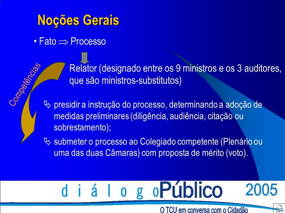 Noções Gerais Fato Processo Relator (designado entre os 9 ministros e os 3 auditores, que são ministros-substitutos) presidir a instrução do processo,