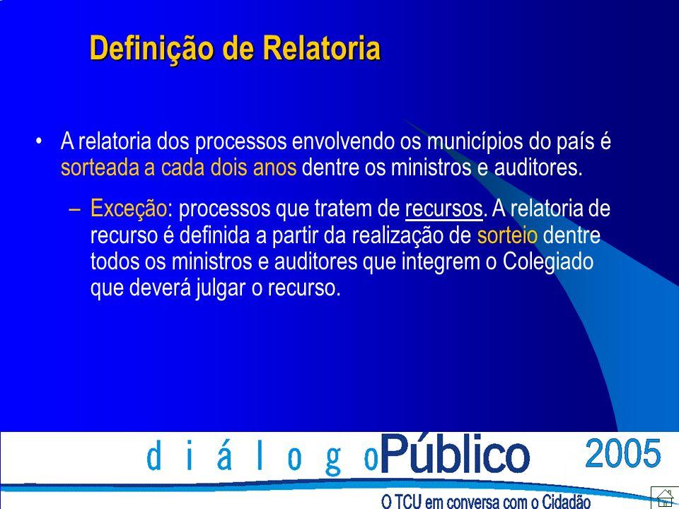 Definição de Relatoria A relatoria dos processos envolvendo os municípios do país é sorteada a cada dois anos dentre os ministros e auditores. –Exceçã