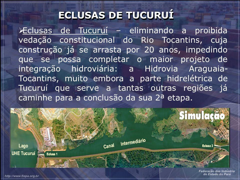 ECLUSAS DE TUCURUÍ Eclusas de Tucuruí – eliminando a proibida vedação constitucional do Rio Tocantins, cuja construção já se arrasta por 20 anos, impedindo que se possa completar o maior projeto de integração hidroviária: a Hidrovia Araguaia- Tocantins, muito embora a parte hidrelétrica de Tucuruí que serve a tantas outras regiões já caminhe para a conclusão da sua 2ª etapa.